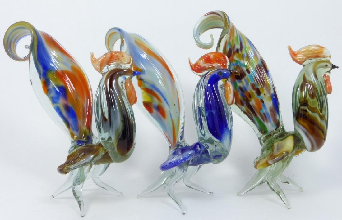 7pc MURANO ART GLASS ROOSTERS - 6