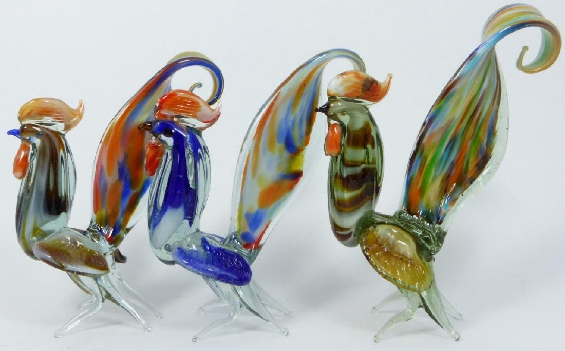 7pc MURANO ART GLASS ROOSTERS - 7