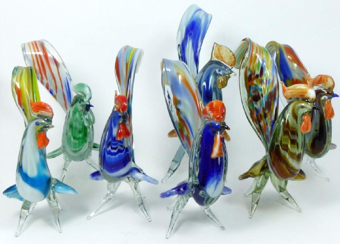 7pc MURANO ART GLASS ROOSTERS - 8