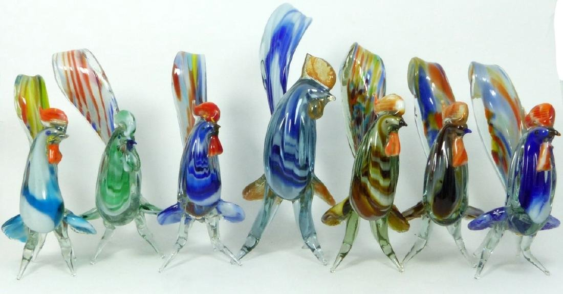 7pc MURANO ART GLASS ROOSTERS - 9
