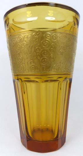 MOSER STYLE AMBER GLASS VASE