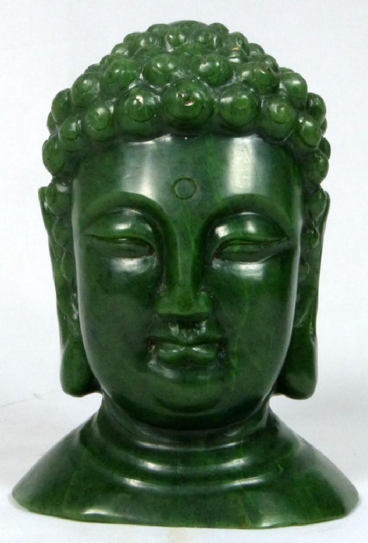 TIBETAN GREEN HARDSTONE BUDDHA HEAD SCULPTURE