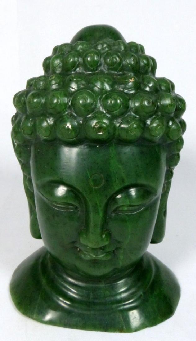 TIBETAN GREEN HARDSTONE BUDDHA HEAD SCULPTURE - 2
