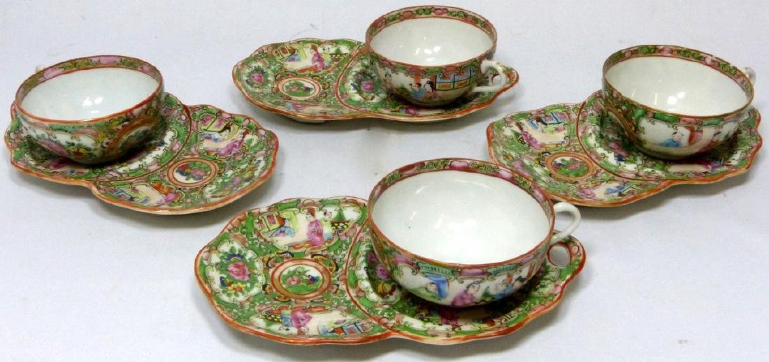 8pc CHINESE ROSE MEDALLION SNACK PLATES w TEACUPS