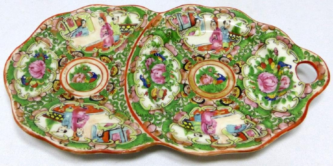 8pc CHINESE ROSE MEDALLION SNACK PLATES w TEACUPS - 4