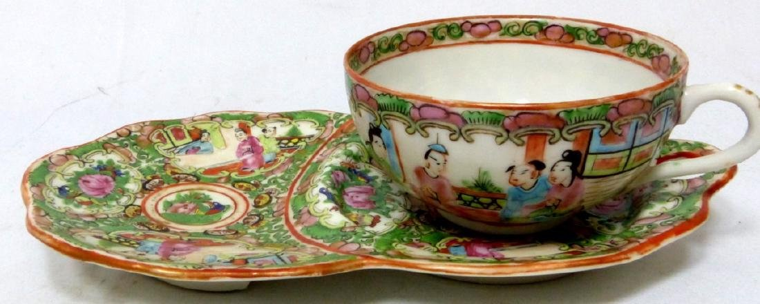 8pc CHINESE ROSE MEDALLION SNACK PLATES w TEACUPS - 5
