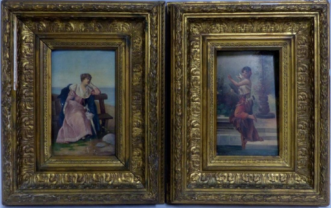 PR ANTIQUE ITALIAN OIL PAINTINGS ON PANEL OF WOMEN