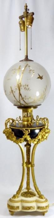 NAPOLEON III GILT BRONZE SATYR LAMP w GLASS GLOBE