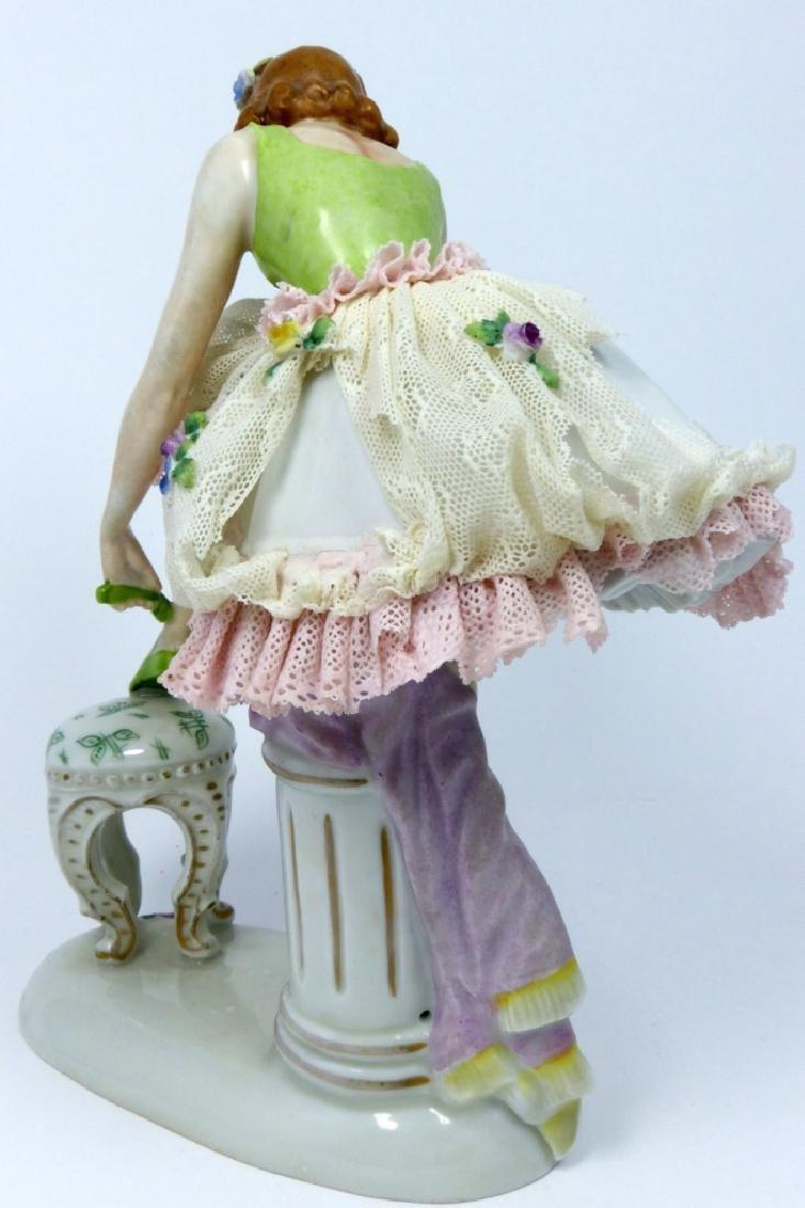 SITZENDORF PORCELAIN LADY w LACE DRESS - 3