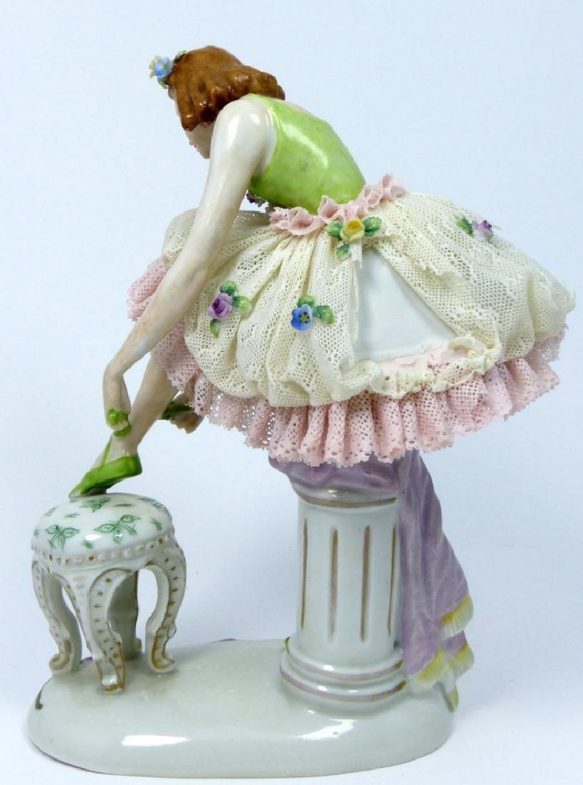SITZENDORF PORCELAIN LADY w LACE DRESS - 4