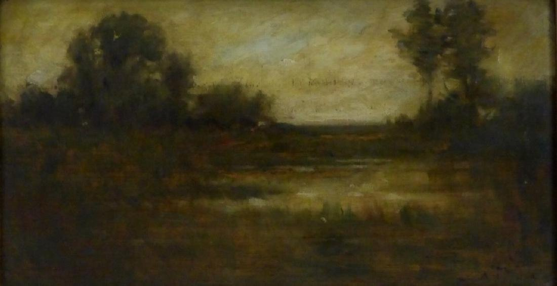 ADOUHIN OIL PAINTING ON BOARD OF LANDSCAPE - 2