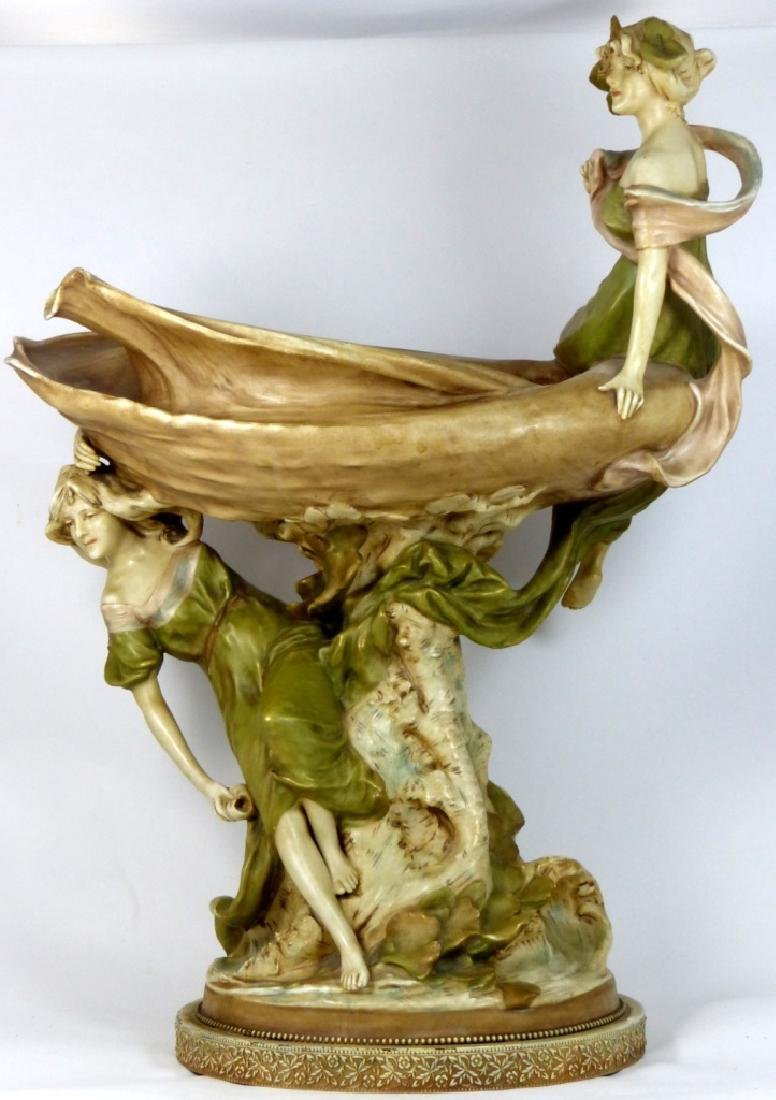 ROYAL DUX LARGE PORCELAIN FIGURAL CENTERPIECE