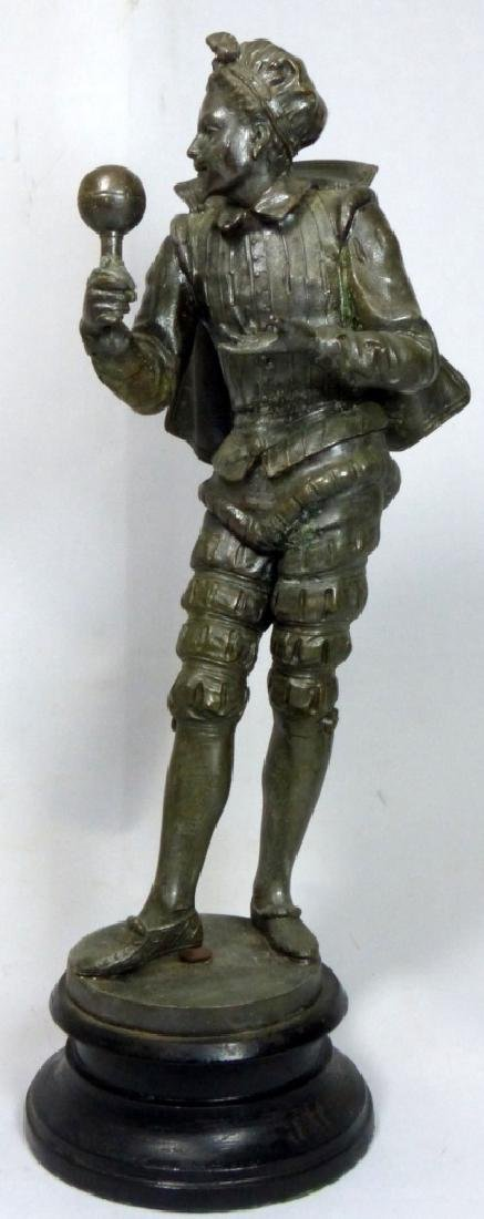 FRENCH METAL SCULPTURE OF COURT JESTER - 2