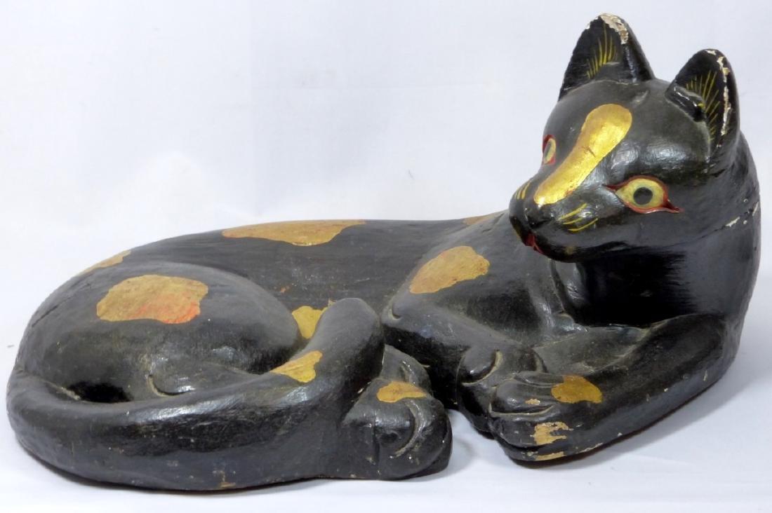 LARGE VINTAGE FOLK ART CARVED WOODEN CAT