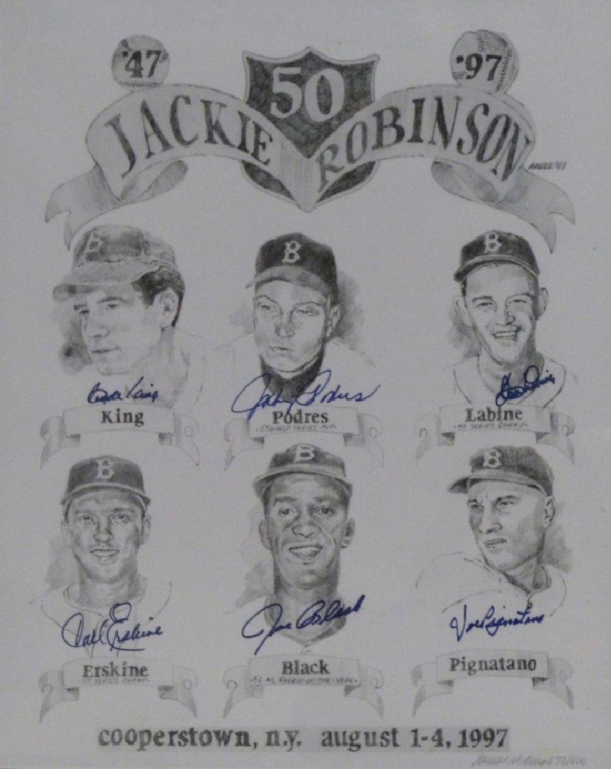 JAMES AMORE JACKIE ROBINSON LITHOGRAPH SIGNED - 2