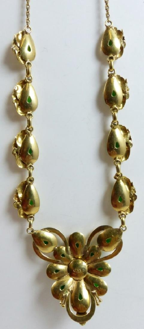 CHINESE 14kt YELLOW GOLD JADEITE CABOCHON NECKLACE - 2