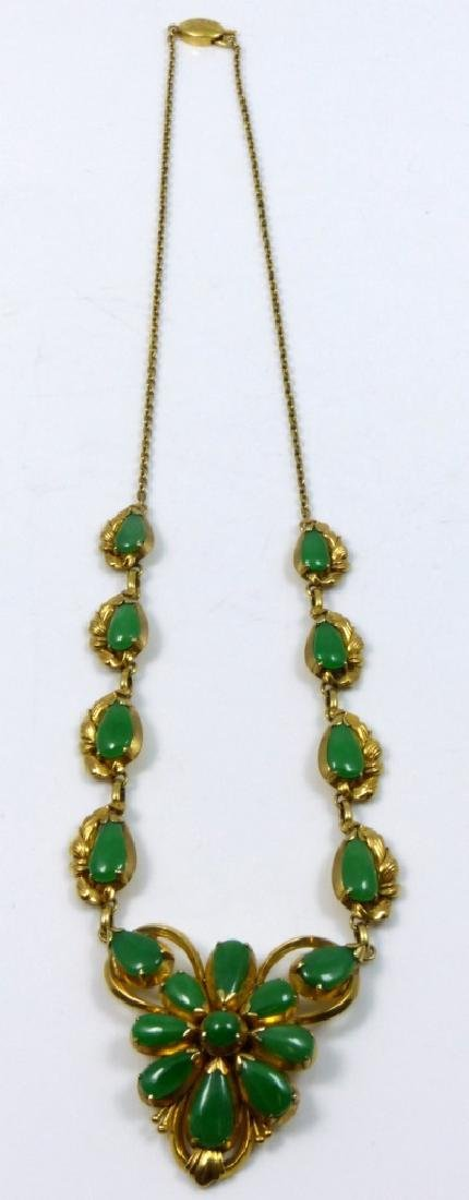 CHINESE 14kt YELLOW GOLD JADEITE CABOCHON NECKLACE - 5