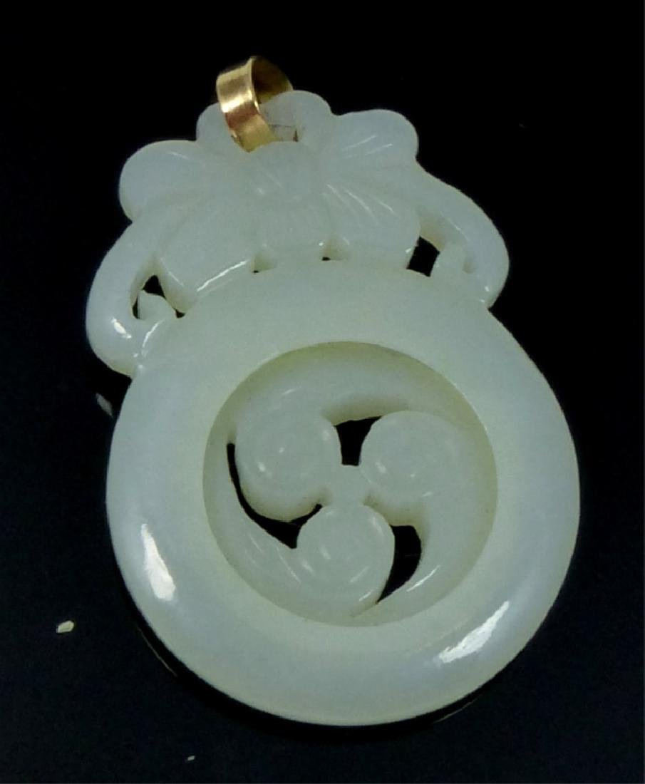 CHINESE JADE PENDANT w SPINNING TRISKELLE - 3