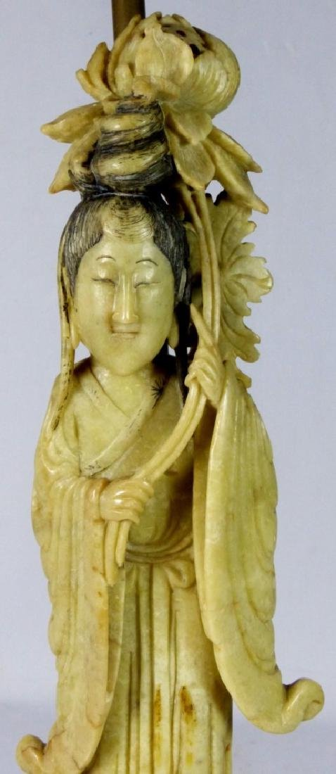 CHINESE SOAPSTONE MAIDEN FIGURE MOUNTED AS LAMP - 3