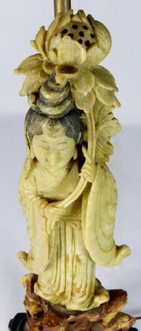 CHINESE SOAPSTONE MAIDEN FIGURE MOUNTED AS LAMP - 4
