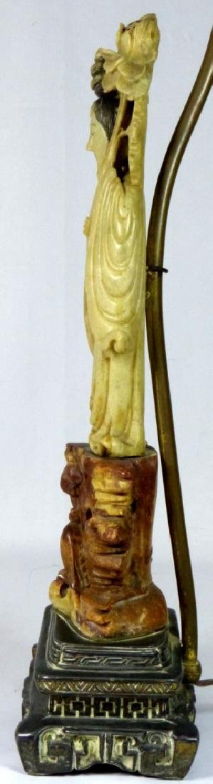 CHINESE SOAPSTONE MAIDEN FIGURE MOUNTED AS LAMP - 5