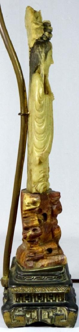 CHINESE SOAPSTONE MAIDEN FIGURE MOUNTED AS LAMP - 7