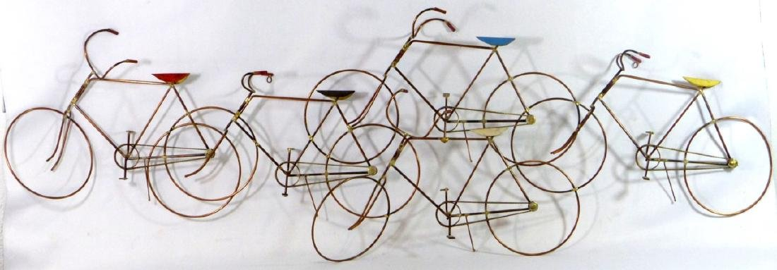 CURTIS JERE COPPER & BRASS BICYCLE WALL SCULPTURE