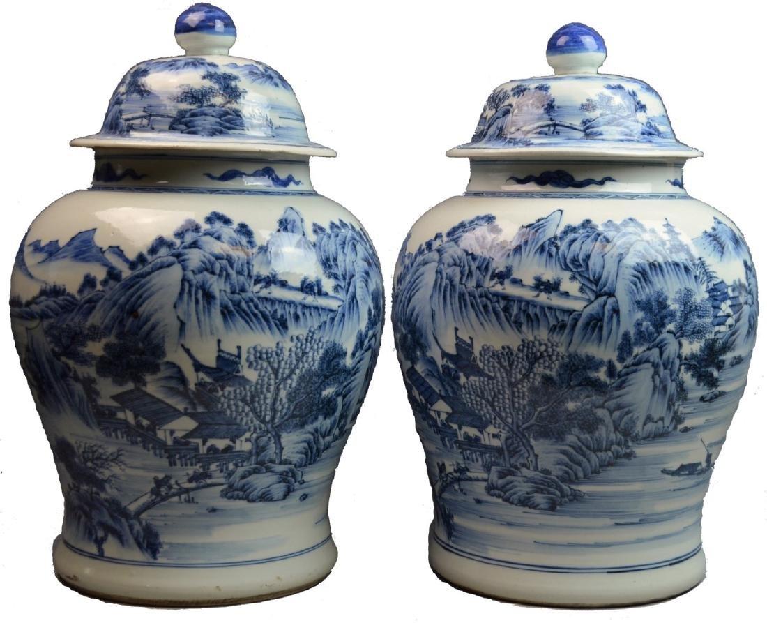 PR 19th C CHINESE BLUE & WHITE PORCELAIN JARS