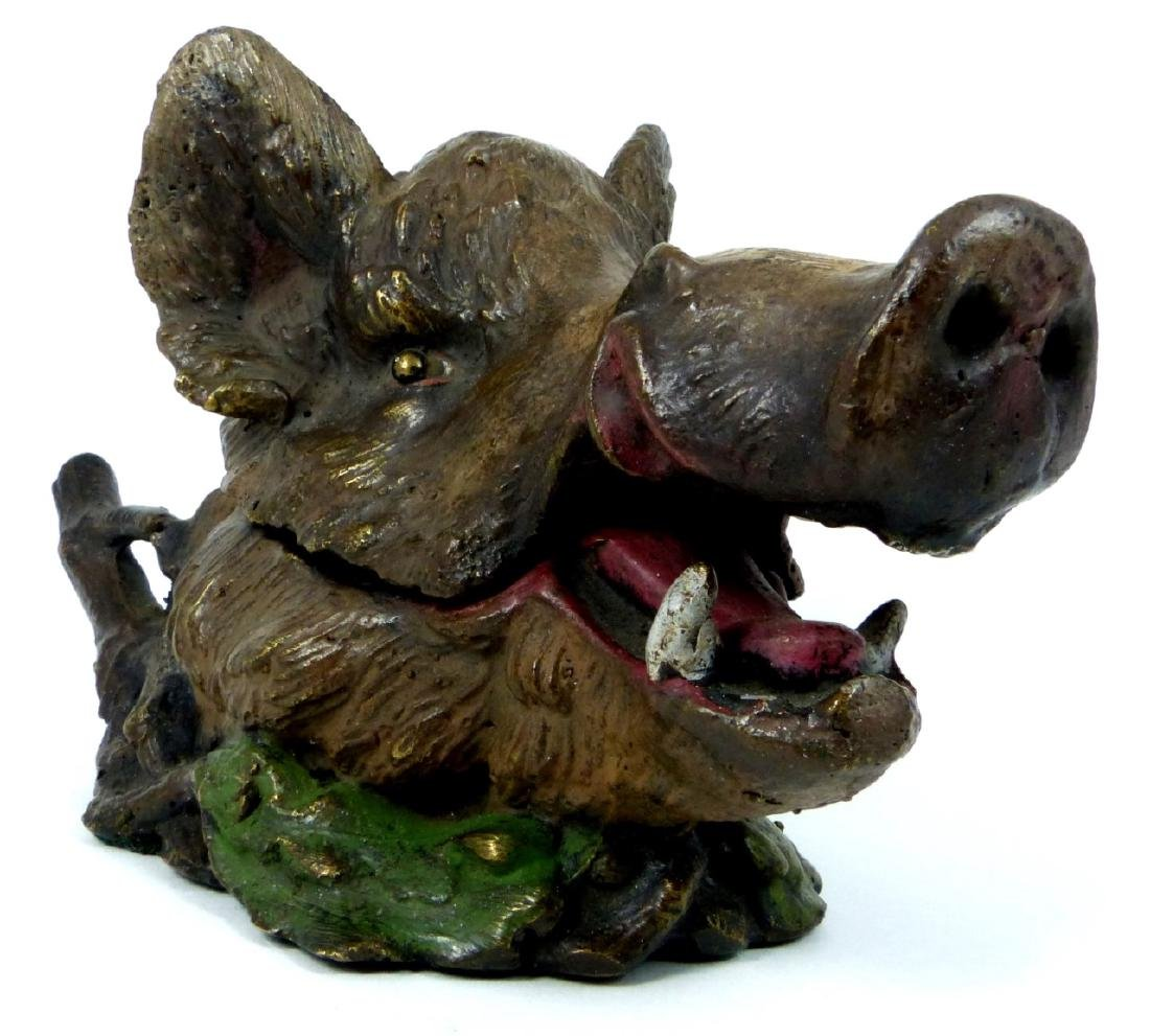 BRONZE BOAR HEAD INKWELL AFTER CHRISTOPHE FRATIN