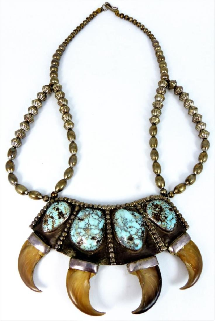 NAVAJO TURQUOISE AND SILVER HORN NECKLACE