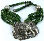 T FOREE STERLING SILVER FOO DOG PENDANT NECKLACE