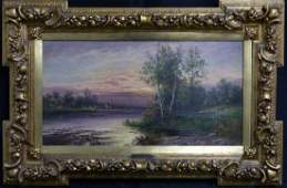 KARL KAUFMANN OIL PAINTING ON CANVAS RIVERSCAPE