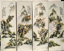 4pc 19th C CHINESE FAMILLE ROSE PORCELAIN PLAQUES