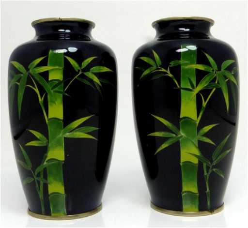 Pr Japanese Bamboo Cloisonne Vases By Suzuki
