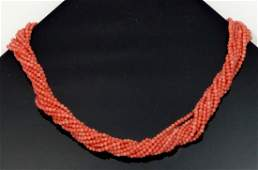 TIFFANY 11-STRAND CORAL STERLING SILVER NECKLACE