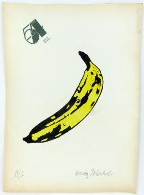 Andy Warhol Banana Drawing On Paper Signed