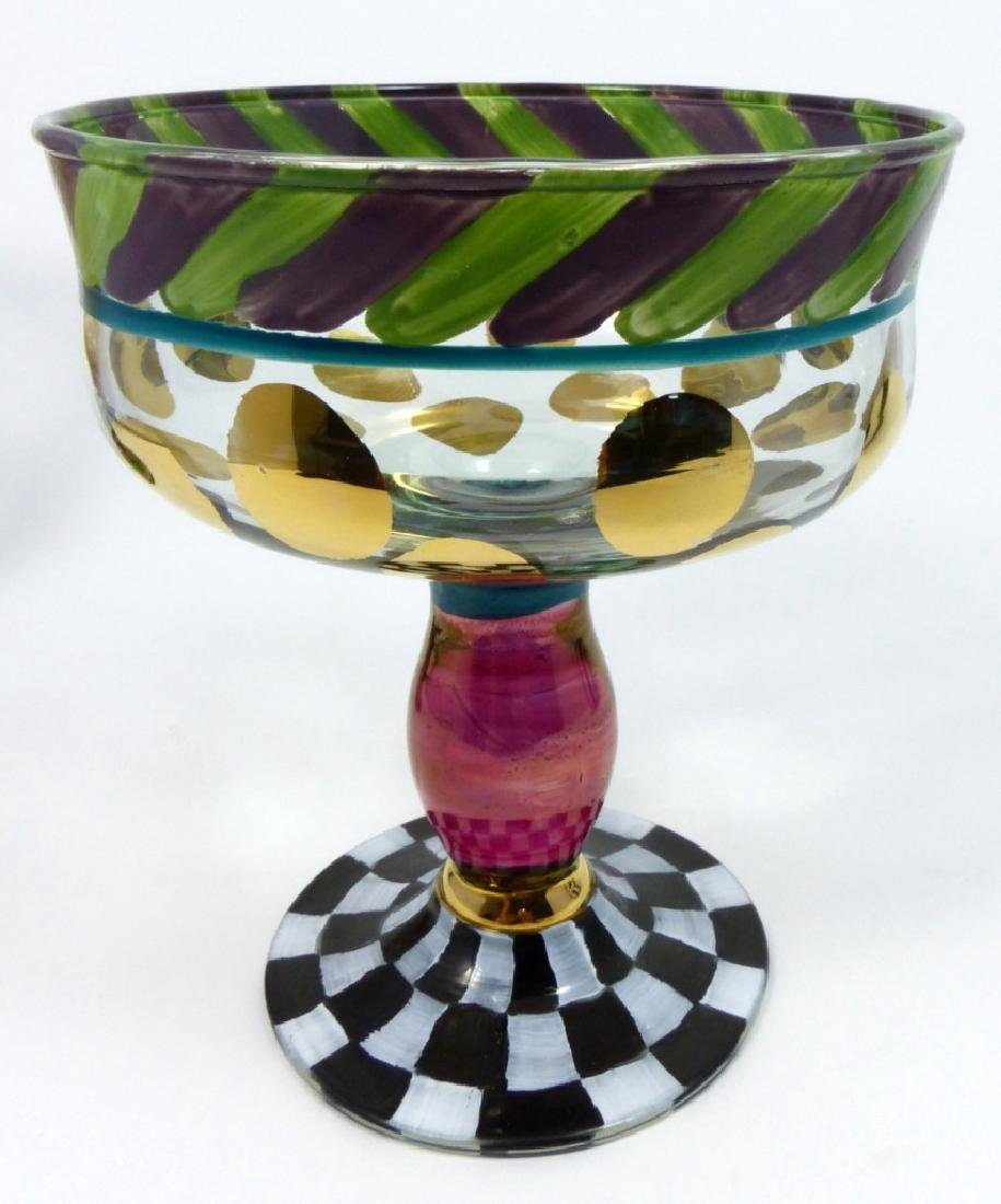 3pc MACKENZIE-CHILDS GLASS TABLE OBJECTS - 4