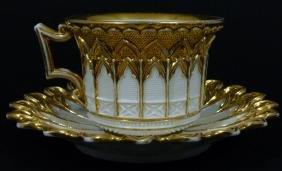 2pc Meissen German Porcelain Gilt Teacup & Saucer