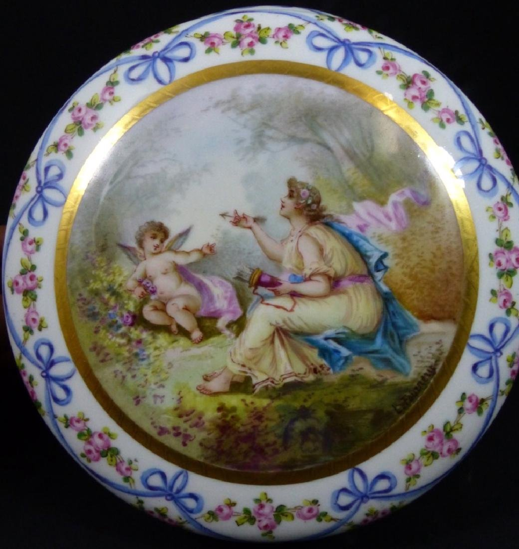 SEVRES STYLE FRENCH PORCELAIN LARGE ROUND BOX - 2