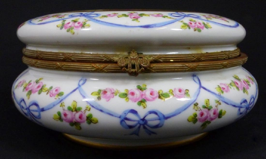 SEVRES STYLE FRENCH PORCELAIN LARGE ROUND BOX - 3