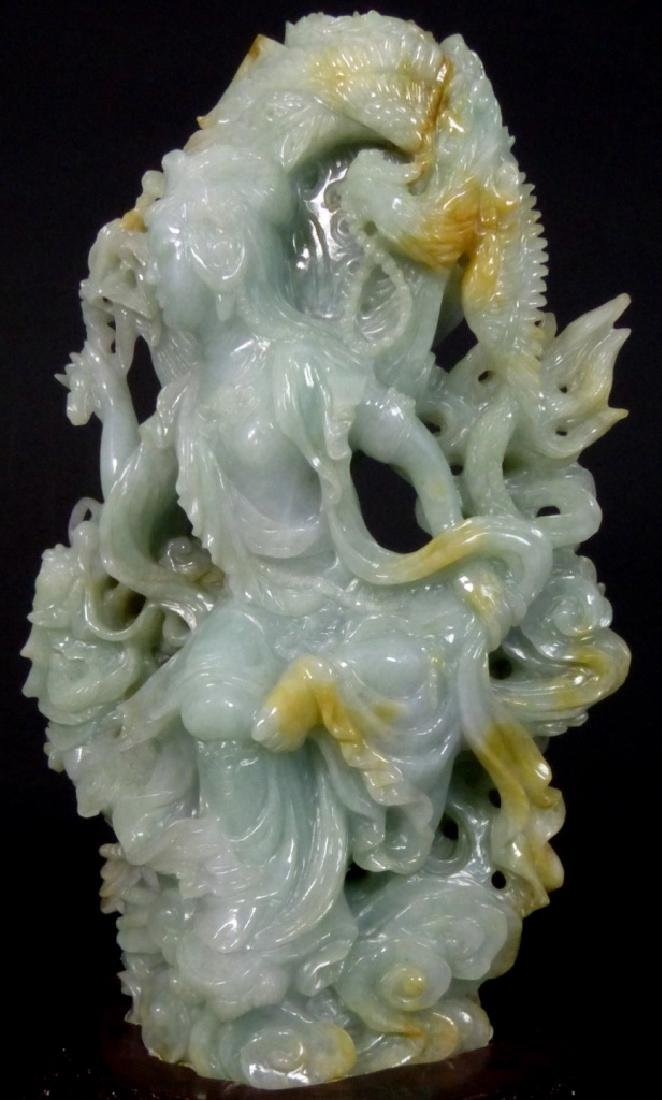 CHINESE CARVED JADE MAIDEN SCULPTURE - 5