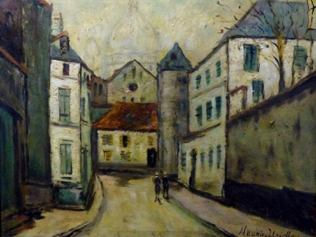 MANNER OF MAURICE UTRILLO OIL PAINTING ON CANVAS - 2