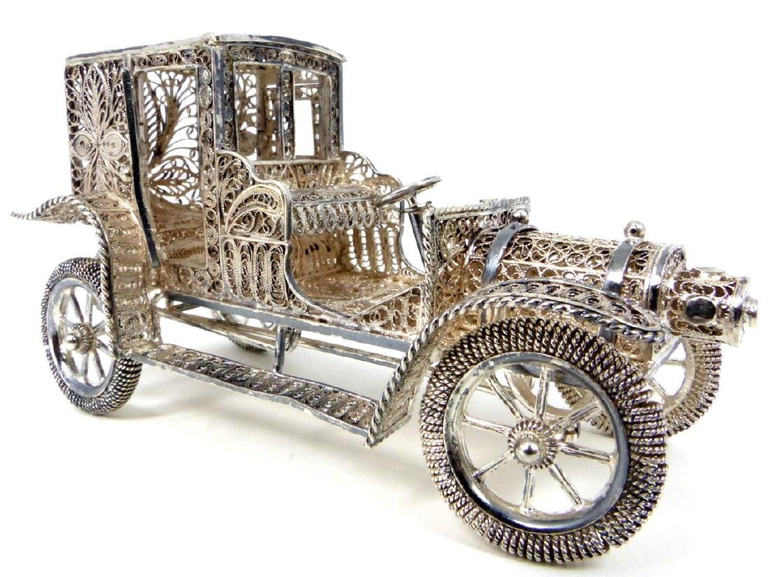 SILVER FILIGREE CAR w MOVING WHEELS & OPENING DOOR
