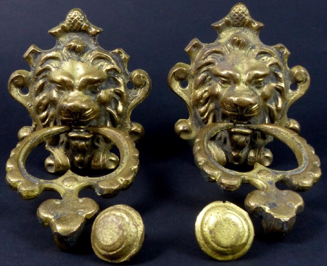 PR GILT BRASS LION HEAD DOOR KNOCKERS