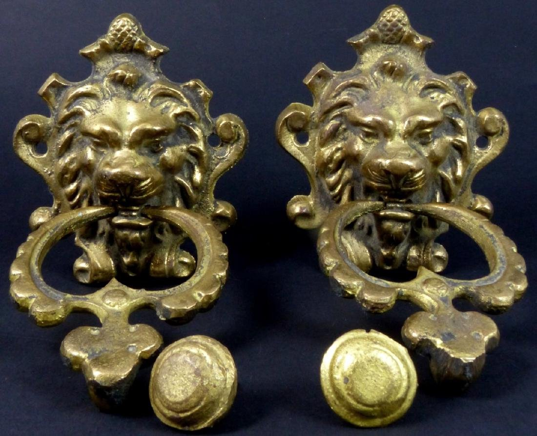 PR GILT BRASS LION HEAD DOOR KNOCKERS