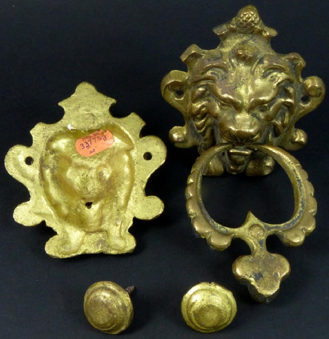 PR GILT BRASS LION HEAD DOOR KNOCKERS - 2