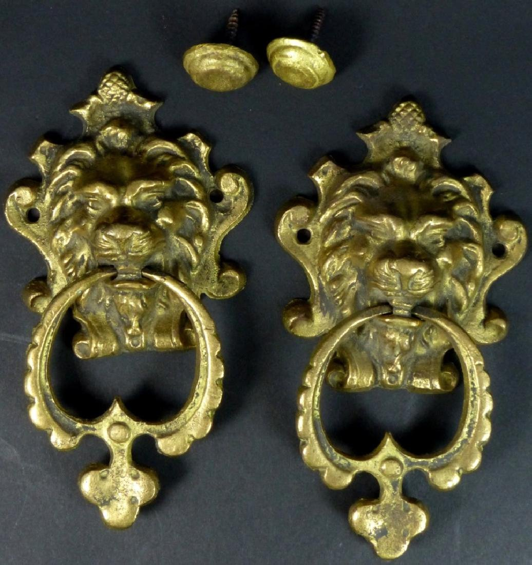 PR GILT BRASS LION HEAD DOOR KNOCKERS - 3