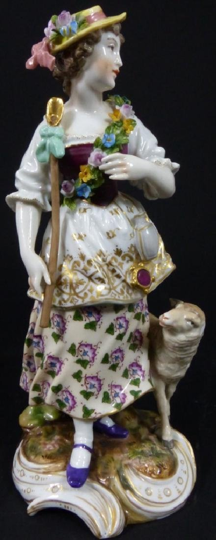 VOLKSTEDT PORCELAIN WOMAN w GOAT FIGURINE - 5