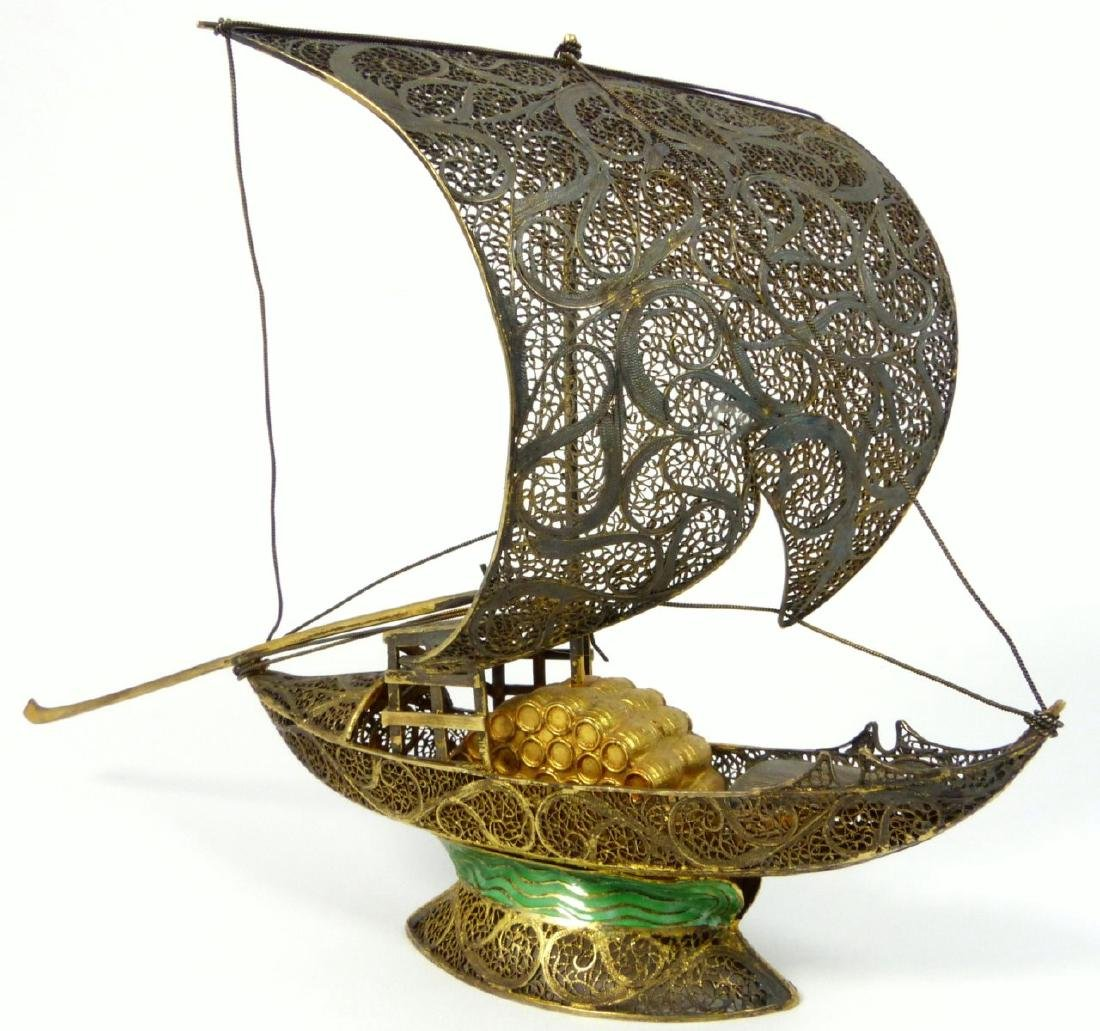 CHINESE EXPORT SILVER FILIGREE & ENAMEL JUNK BOAT