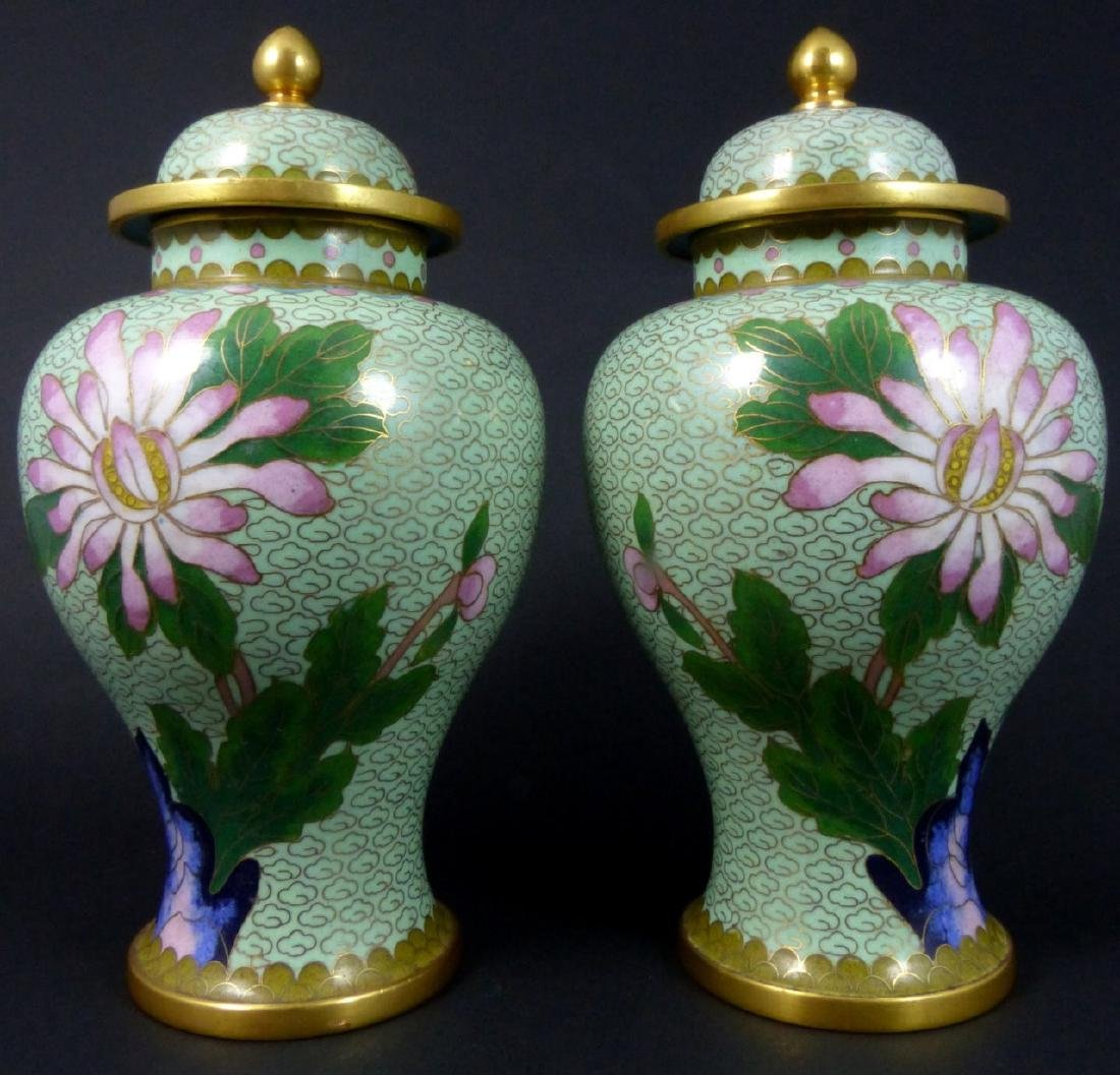 PR CHINESE CLOISONNE LIDDED URNS - 2